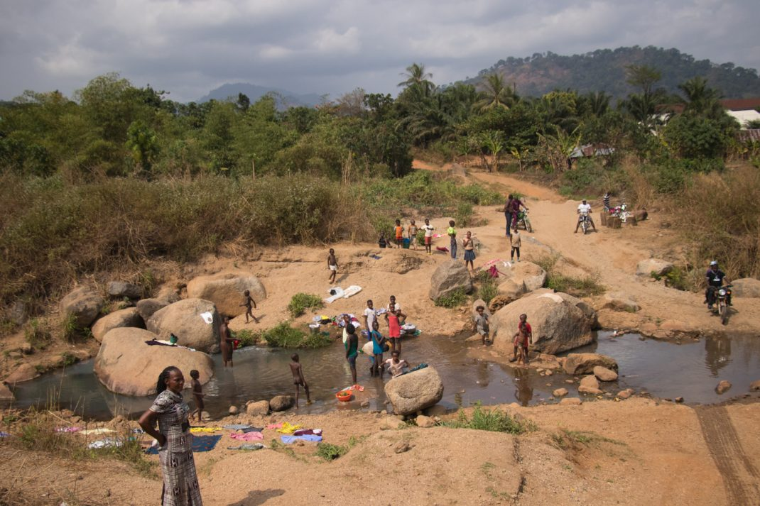 Local washing clothes in the river, Cross River State, Nigeria