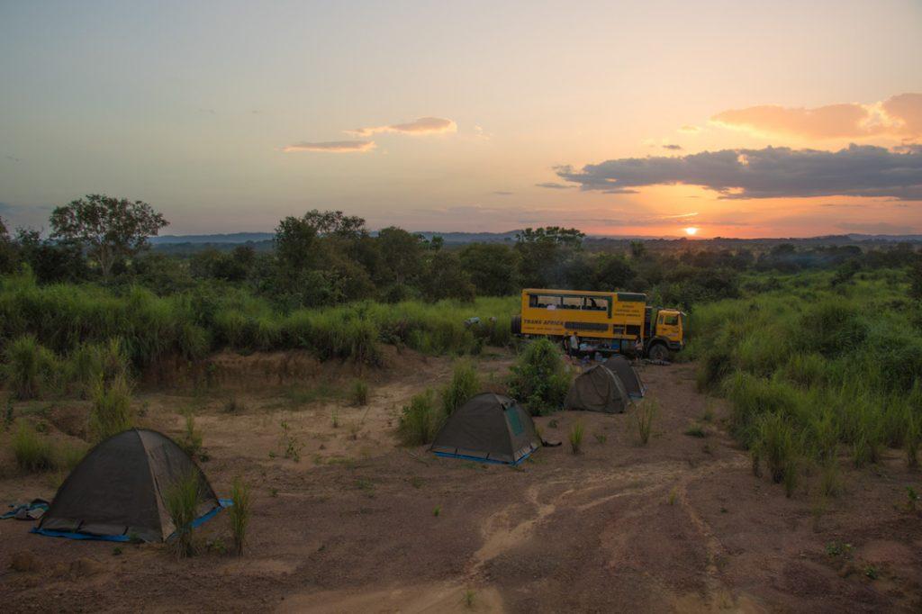 bush camp sunset Republic of the Congo
