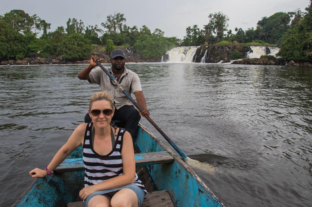 Boat ride at Chutes de la Lobe`falls, Cameroon