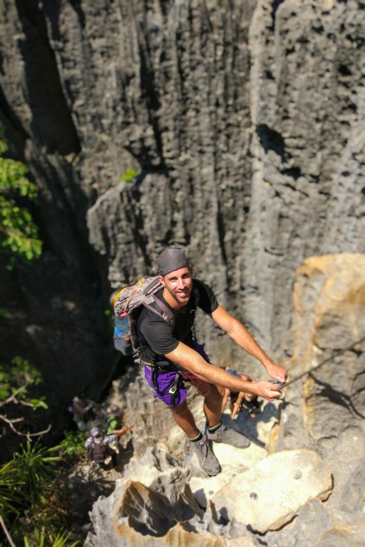 rock climb at Tsingy de Bemaraha National Park