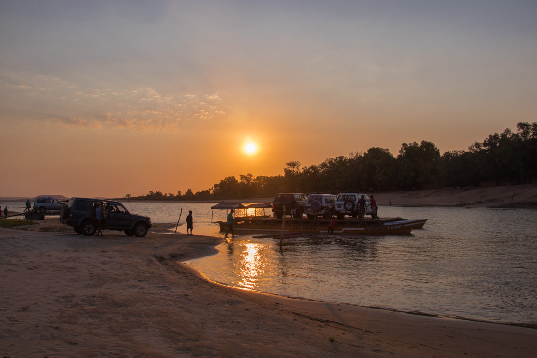 Madagascar car ferry sunset