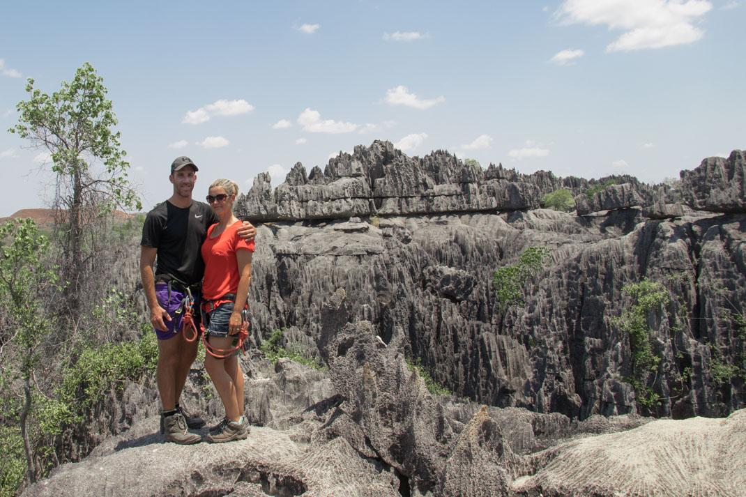 rock climb at Giant Coua at Sportive leViews at Tsingy de Bemaraha National Park