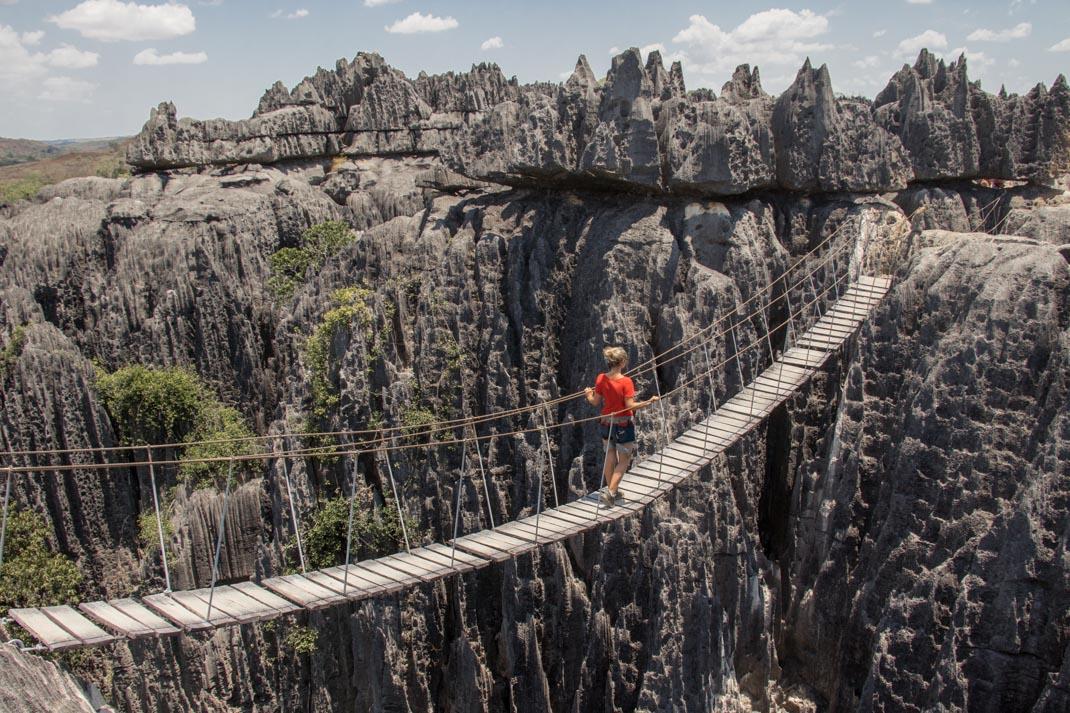 Tsingy de Bemaraha National Park suspension bridge