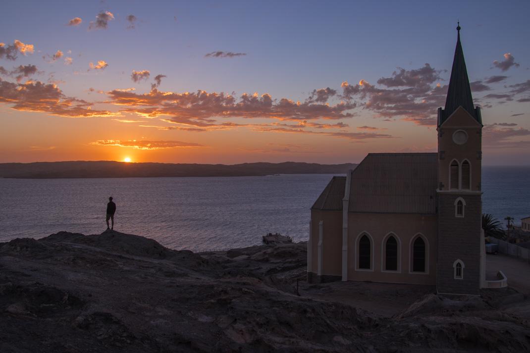 Sunset at Felsenkirche (Rock Church) Lüderitz.