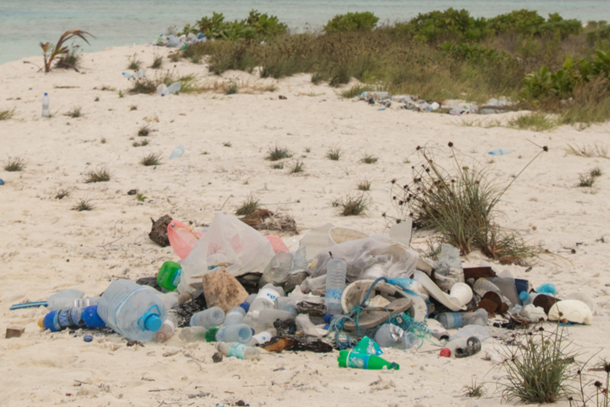 Plastic waste on Rihiveli Island - Maldives