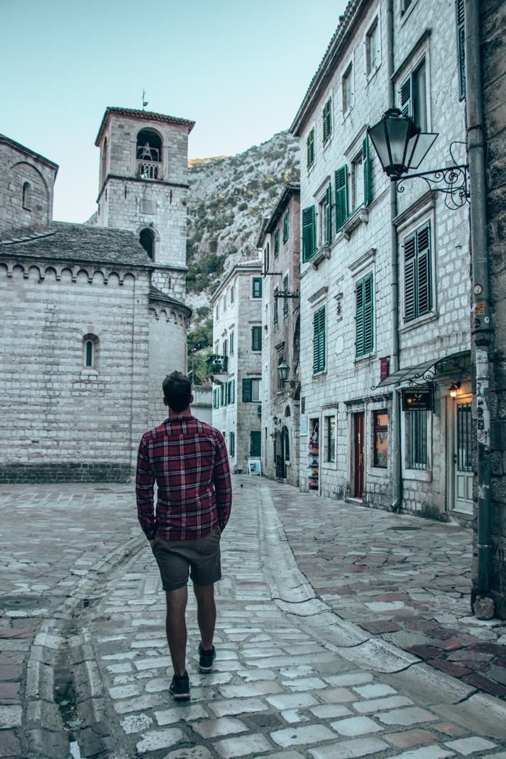 Chris strolling through Kotor Old Town