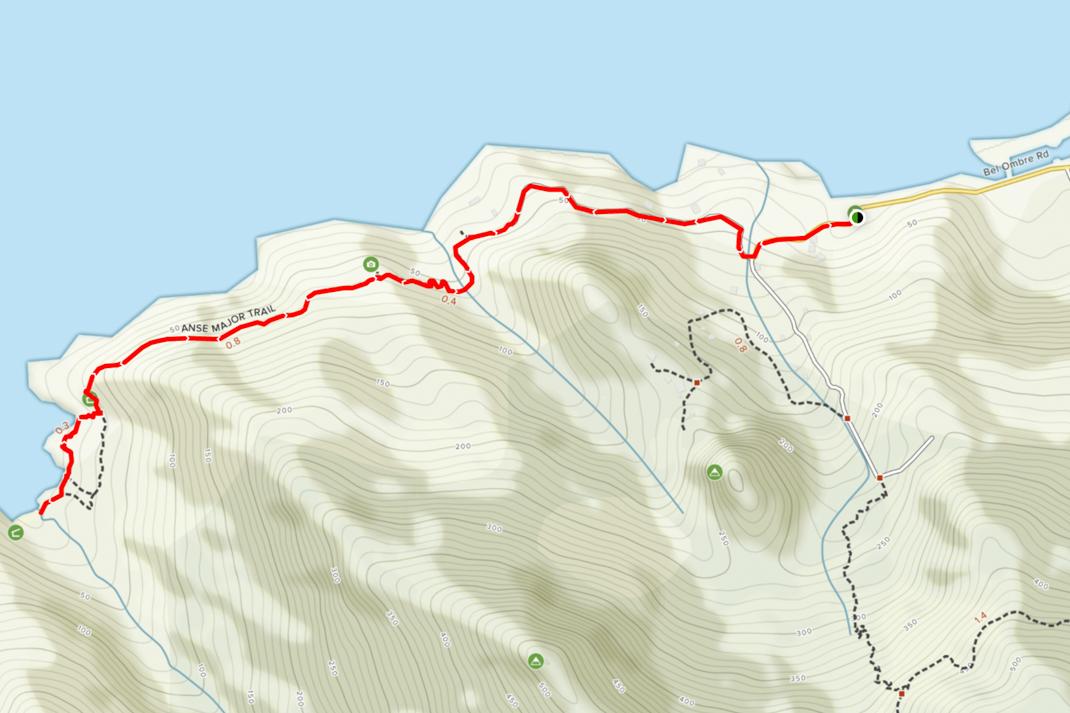 Anse Major Trail Map - Mahé Island