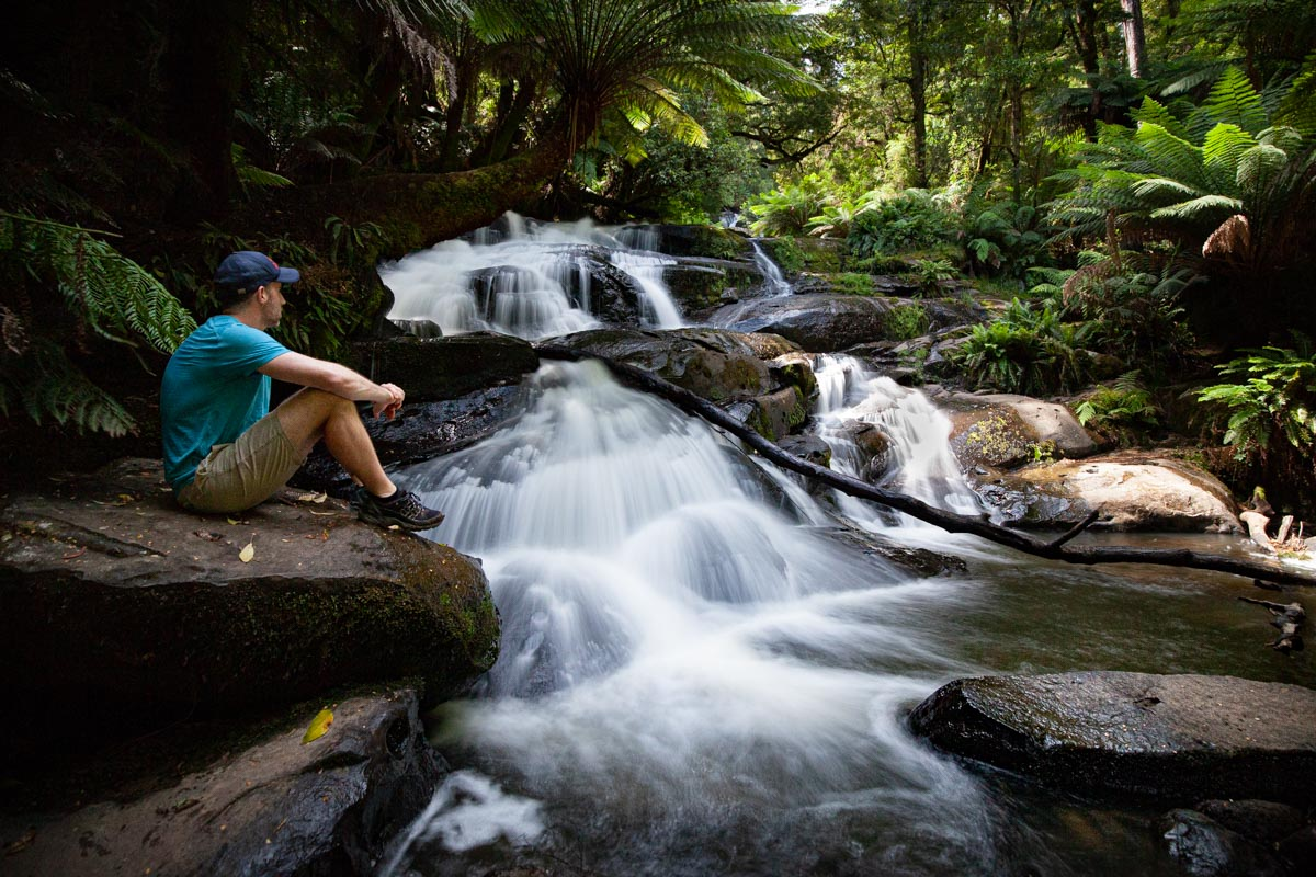 At the base of Triplet Falls, Great Otway National Park