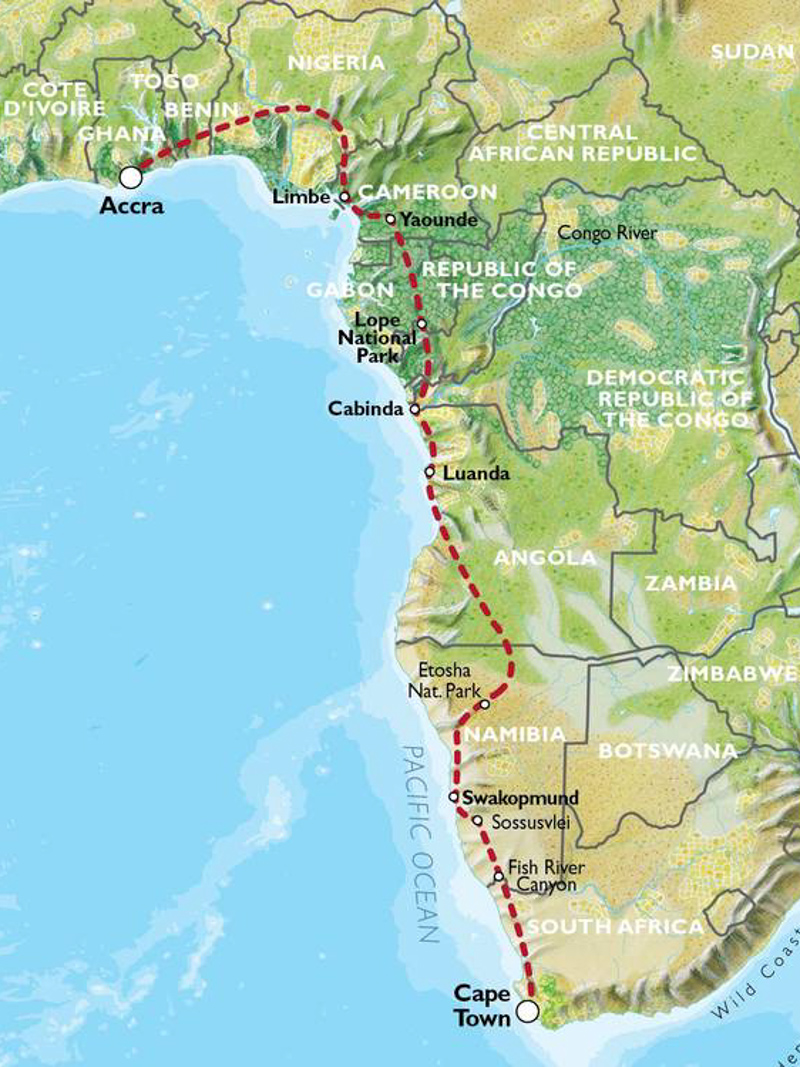Oasis Overland - Accra to Cape Town Map