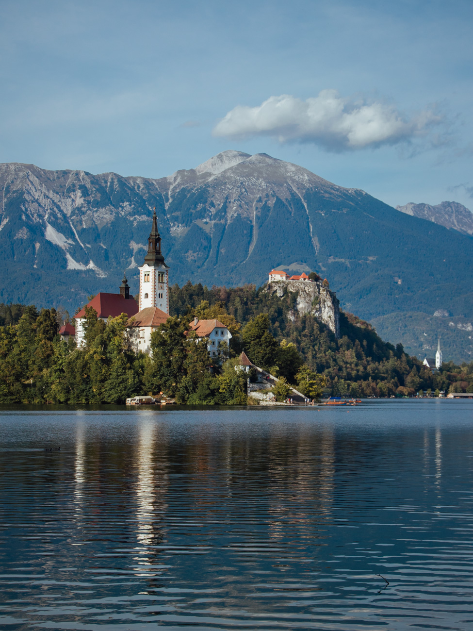Lake bled with Bled Island and Bled Castle in the Background