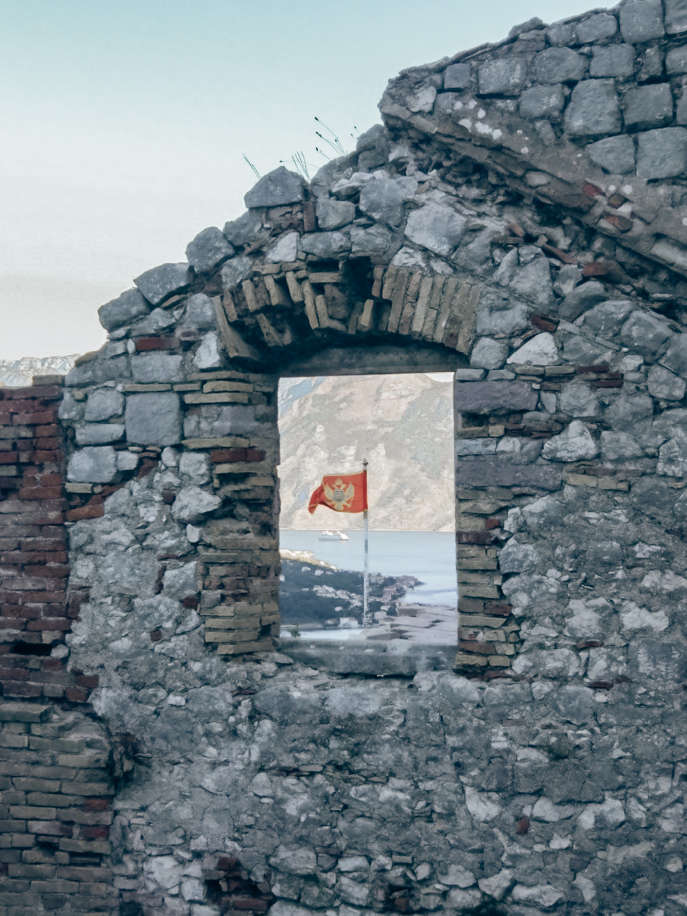 Flag view from climbing Kotor's city walls