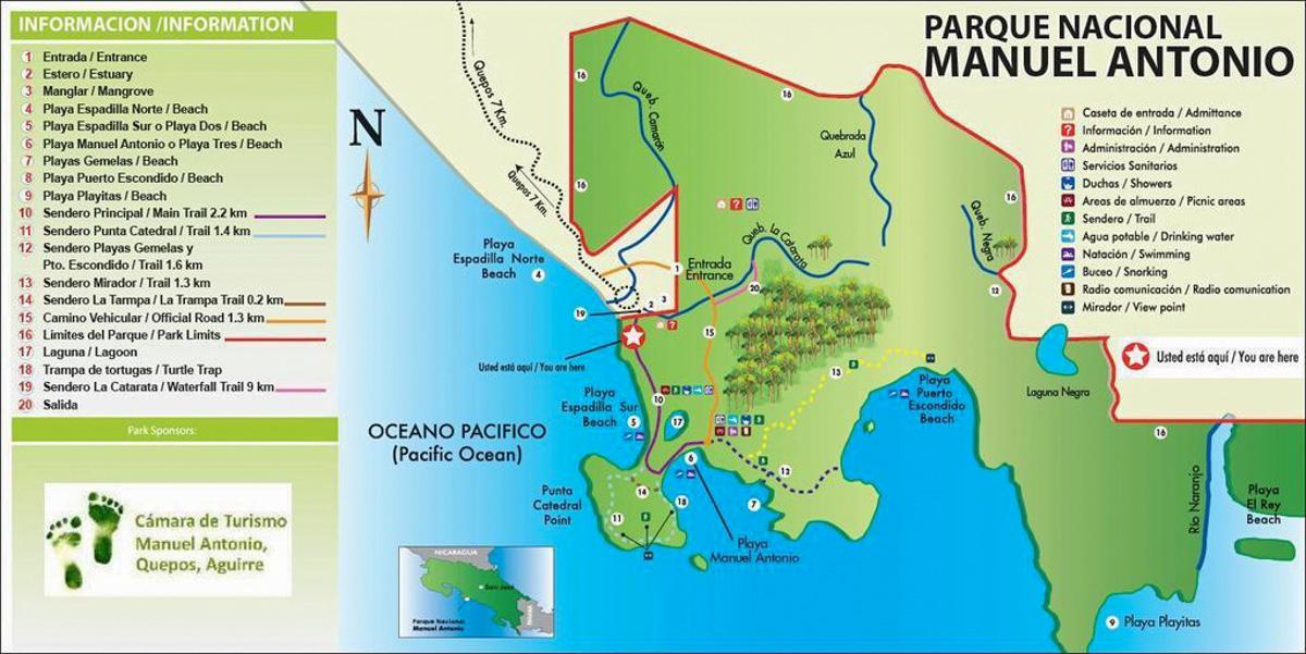 Manuel Antonio National Park Map