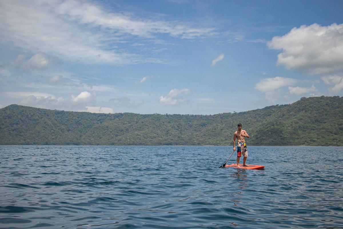 Paddle-boarding at Laguna de Apoyo