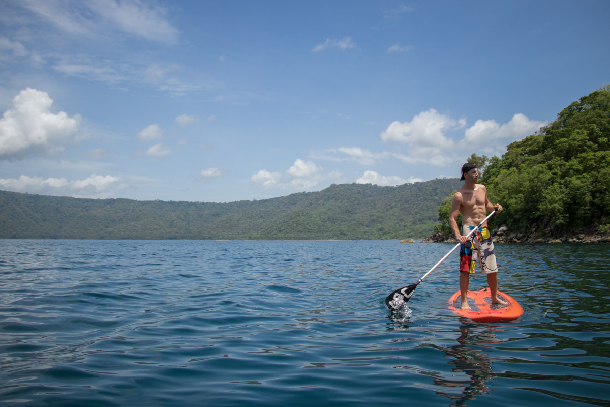 Paddle boarding on Laguna de Apoyo