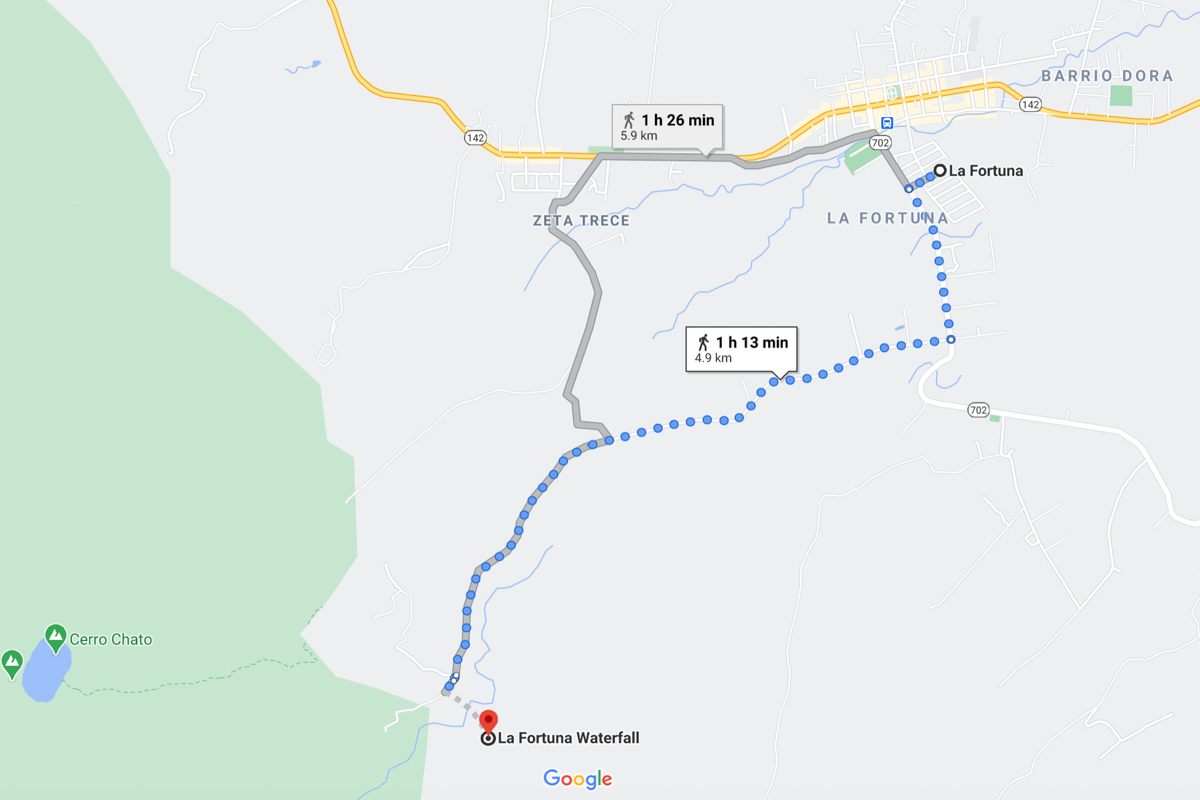 Map of getting to/from La Fortuna Waterfall