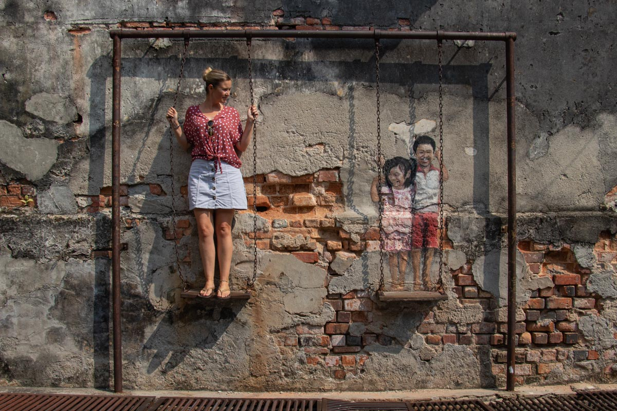 'Brother and Sister on Swing' - Penang Art Trail - Things to see and do in Penang