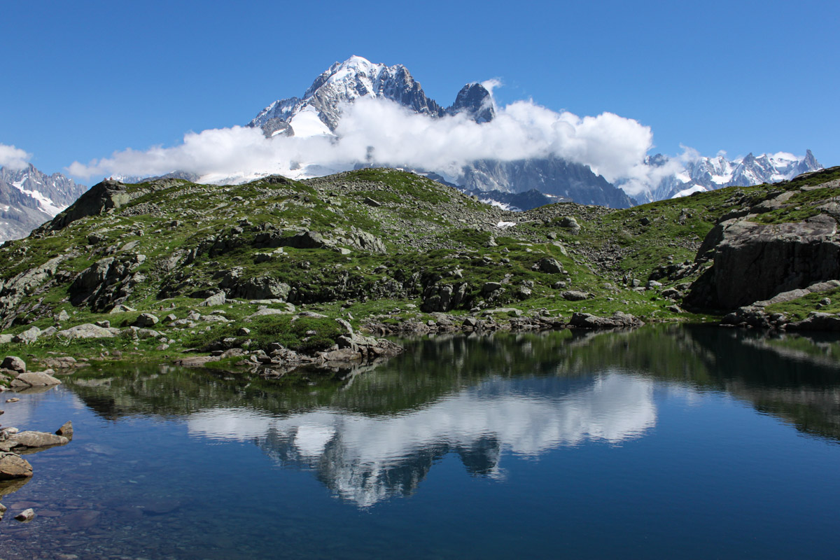 Mont Blanc massif reflection in one of the Lacs de Chéserys