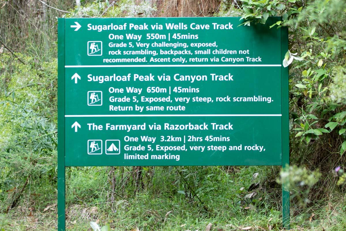 Cathedral Range - Ridgeline Circuit signage