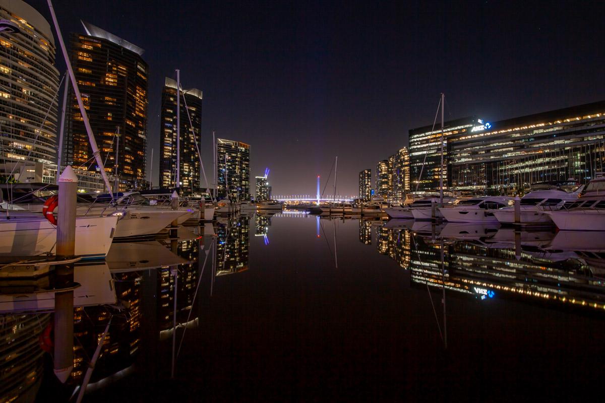 Yarra's Edge Marina night photography
