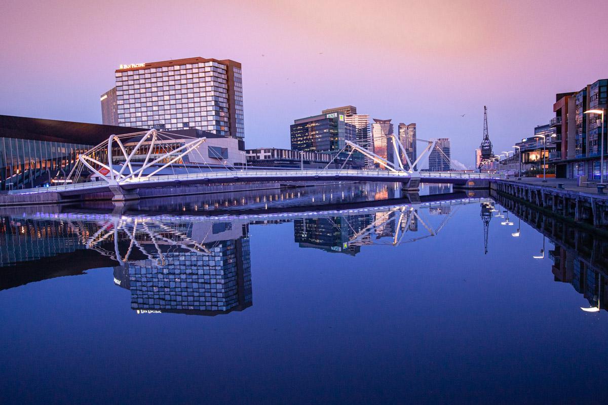 twilight reflections of the Seafarers Bridge