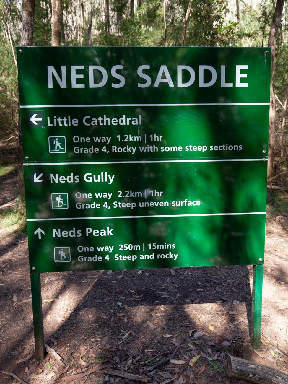 Cathedral Range - Ridgeline Circuit signage at Neds Saddle