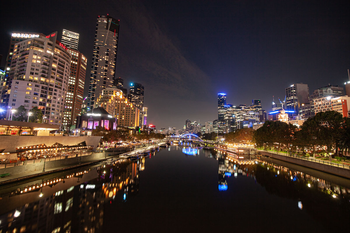 View from Princes Bridge - Best night photography spots in Melbourne