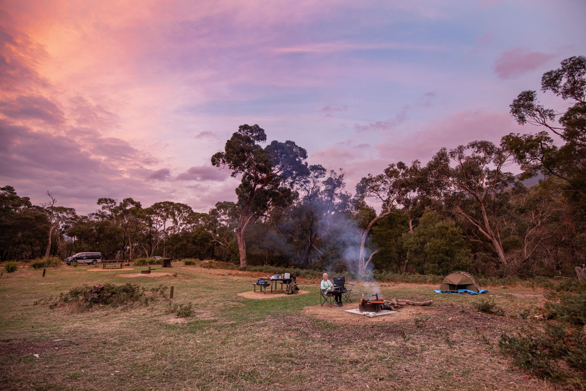 Sunset at Wannon Crossing Campground - Southern Grampians