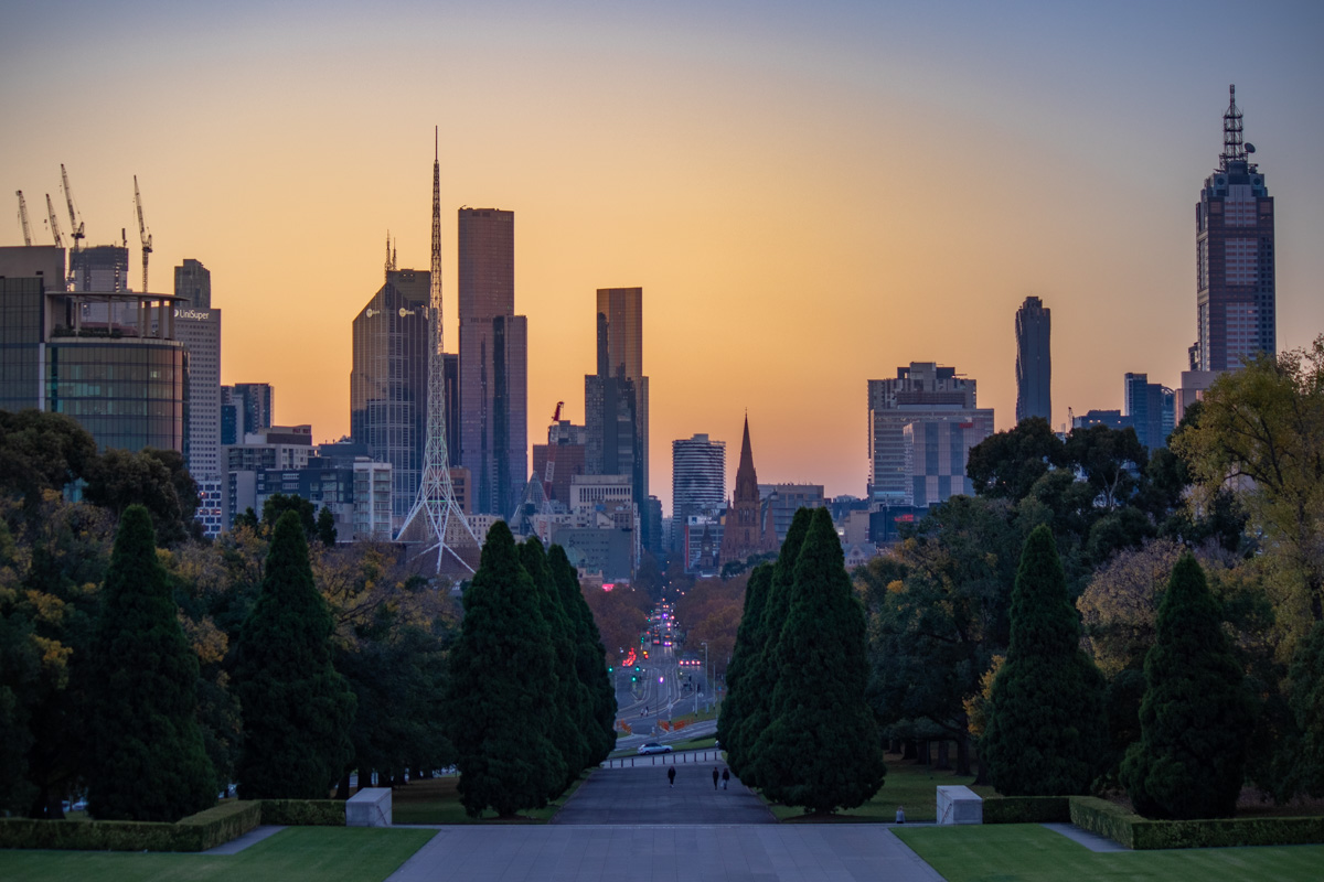 From the Shrine of Remembrance sunset twilight