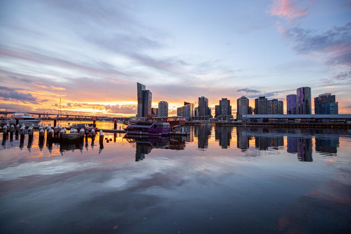 Best sunset photography spots in Melbourne - Harbour Lights Landing, Docklands