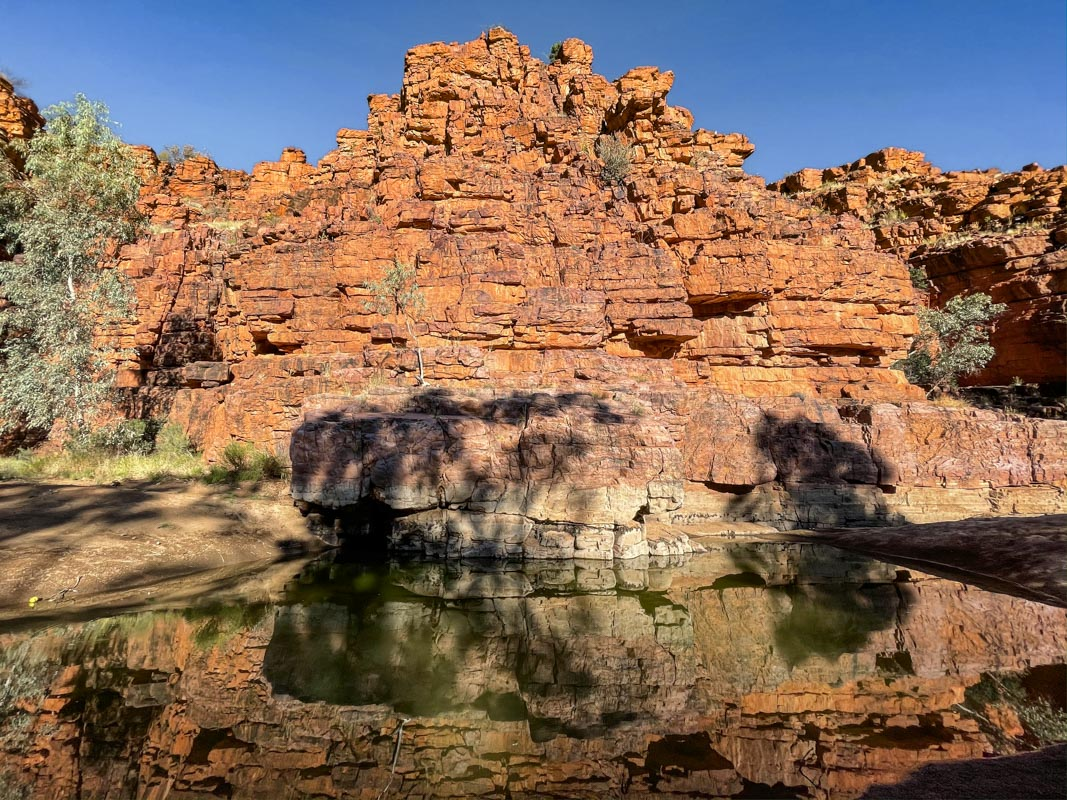 Reflections at a waterhole on the Trephina Gorge Stroll